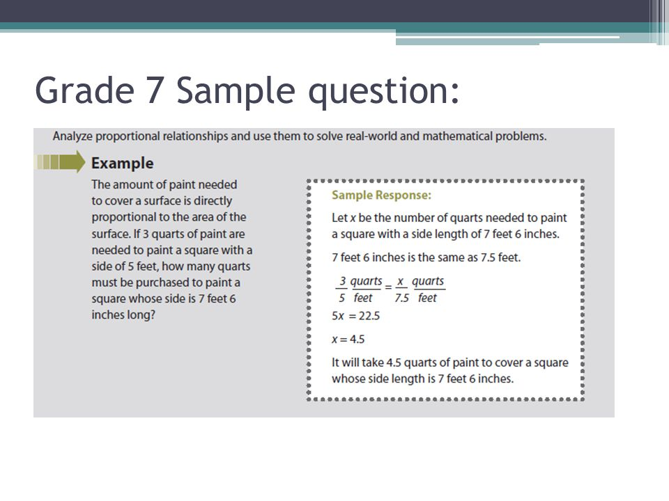 Grade 7 Sample question: