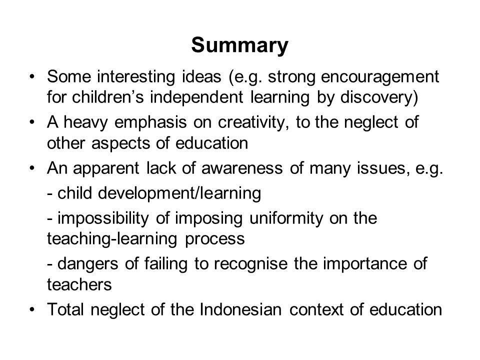 Summary Some interesting ideas (e.g.
