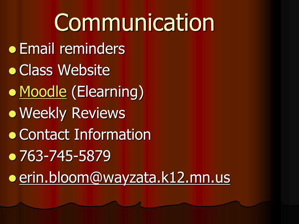 Communication Email reminders Email reminders Class Website Class Website Moodle (Elearning) Moodle (Elearning) Moodle Weekly Reviews Weekly Reviews C