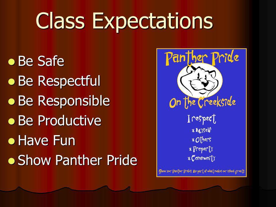 Class Expectations Be Safe Be Safe Be Respectful Be Respectful Be Responsible Be Responsible Be Productive Be Productive Have Fun Have Fun Show Panthe