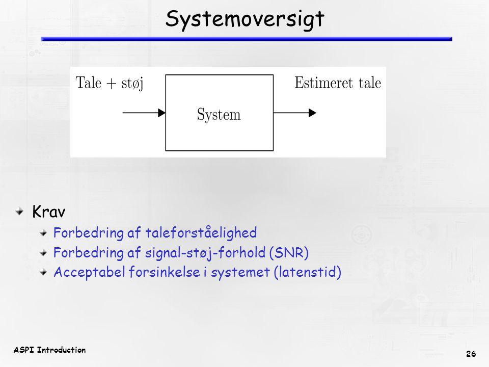 26 ASPI Introduction Systemoversigt Krav Forbedring af taleforståelighed Forbedring af signal-støj-forhold (SNR) Acceptabel forsinkelse i systemet (latenstid)
