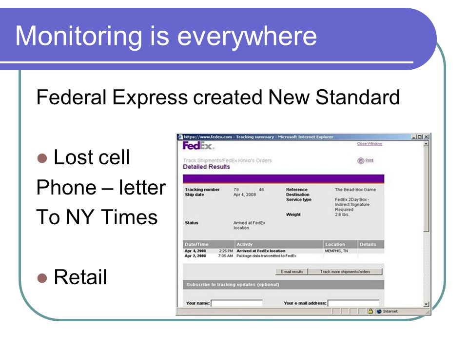 Monitoring is everywhere Federal Express created New Standard Lost cell Phone – letter To NY Times Retail