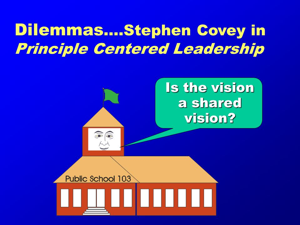 Is the vision a shared vision Dilemmas ….Stephen Covey in Principle Centered Leadership
