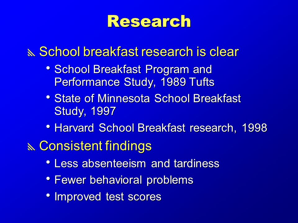 Research  School breakfast research is clear  School Breakfast Program and Performance Study, 1989 Tufts  State of Minnesota School Breakfast Study, 1997  Harvard School Breakfast research, 1998  Consistent findings  Less absenteeism and tardiness  Fewer behavioral problems  Improved test scores