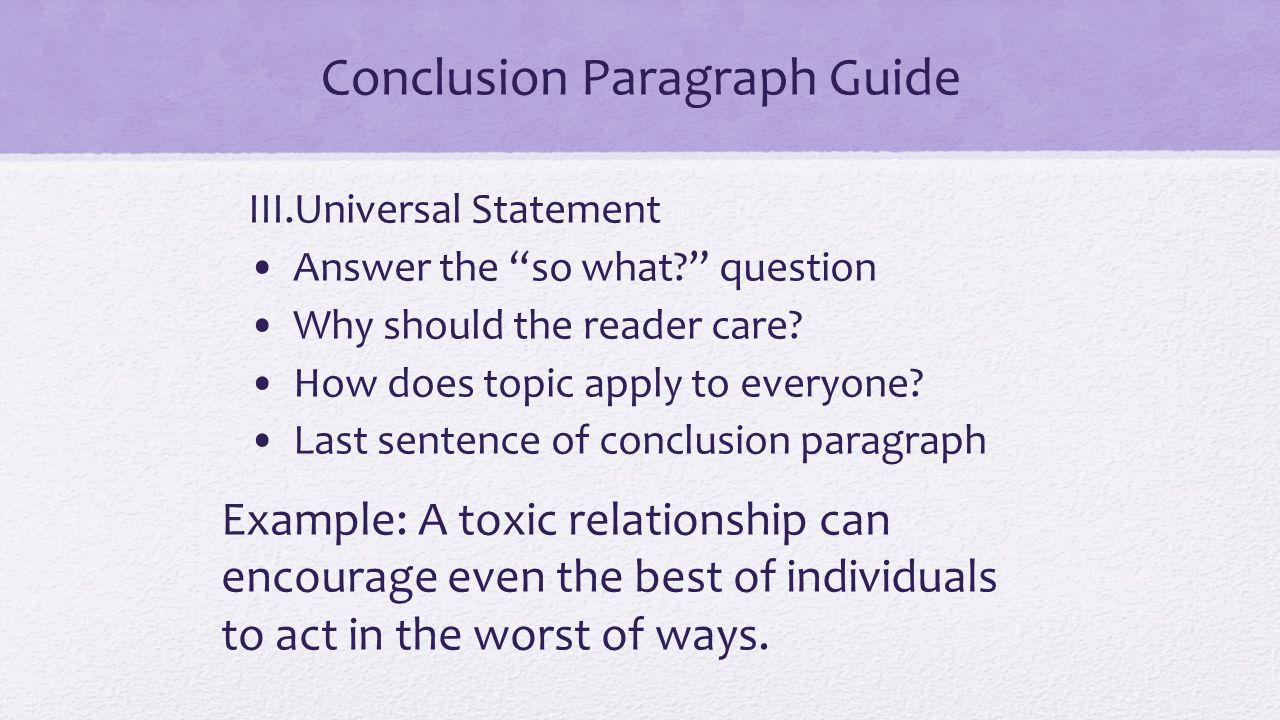 Conclusion Paragraph Guide III.Universal Statement Answer the so what question Why should the reader care.