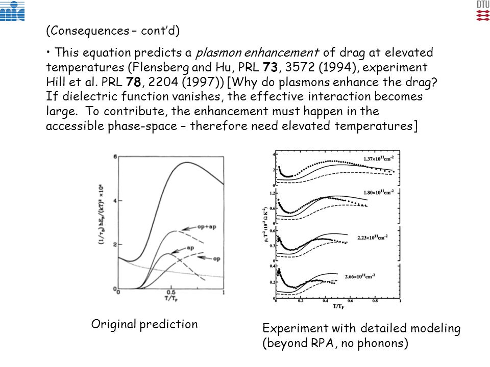 (Consequences – cont'd) This equation predicts a plasmon enhancement of drag at elevated temperatures (Flensberg and Hu, PRL 73, 3572 (1994), experiment Hill et al.