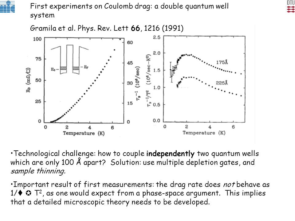 First experiments on Coulomb drag: a double quantum well system Gramila et al. Phys. Rev. Lett 66, 1216 (1991) Technological challenge: how to couple