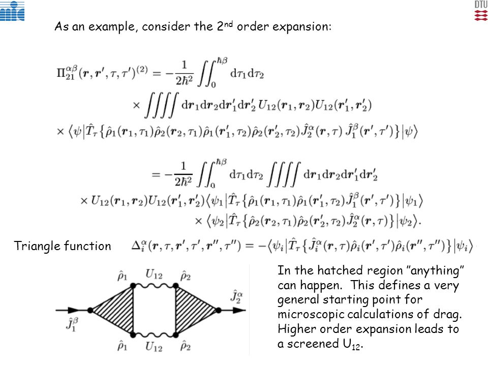 As an example, consider the 2 nd order expansion: Triangle function In the hatched region anything can happen.