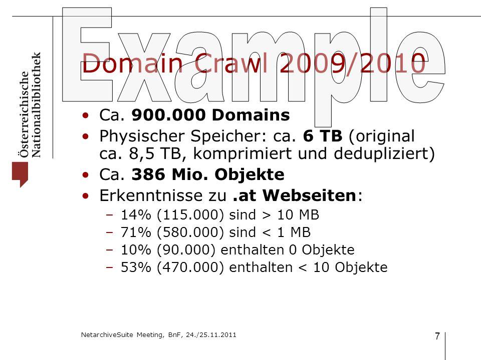 NetarchiveSuite Meeting, BnF, 24./25.11.2011 7 Domain Crawl 2009/2010 Ca.