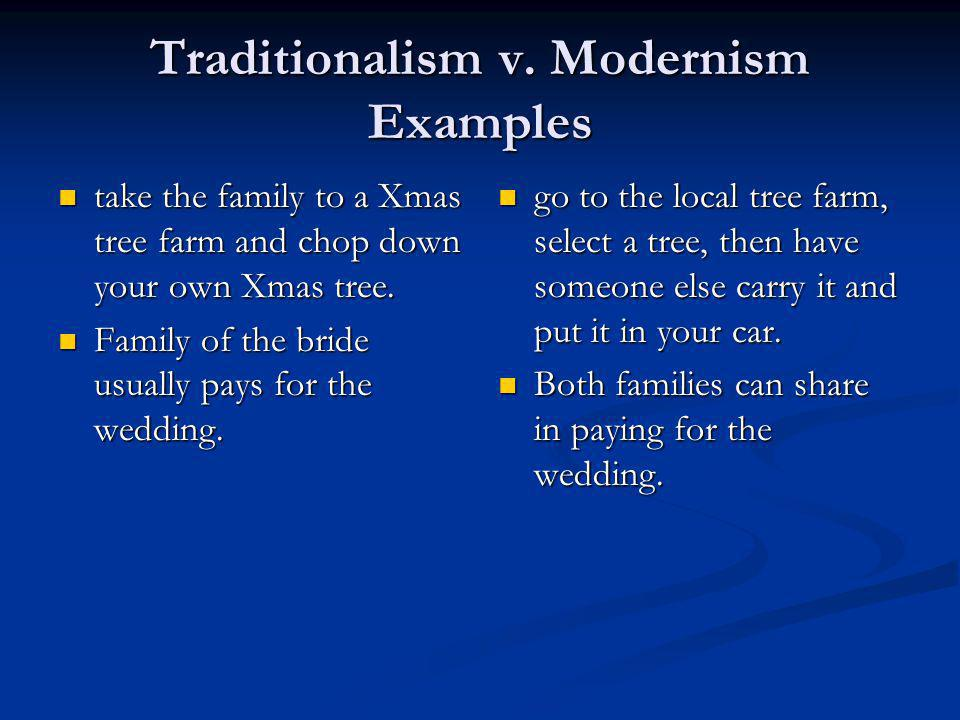 Traditionalism v. Modernism Examples take the family to a Xmas tree farm and chop down your own Xmas tree. take the family to a Xmas tree farm and cho