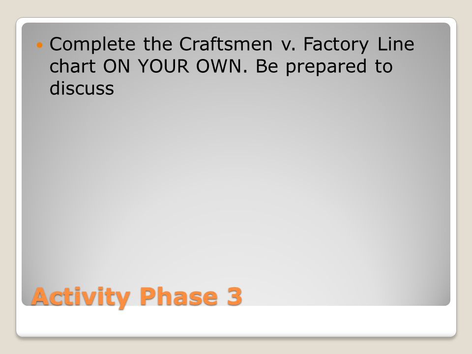 Activity Phase 3 Complete the Craftsmen v. Factory Line chart ON YOUR OWN. Be prepared to discuss
