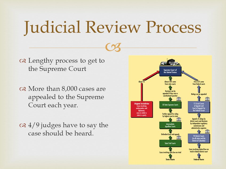  Judicial Review Process  Lengthy process to get to the Supreme Court  More than 8,000 cases are appealed to the Supreme Court each year.