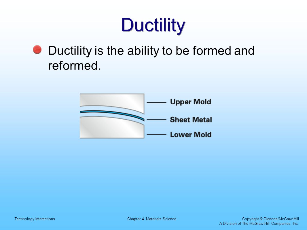 Technology InteractionsChapter 4 Materials Science Copyright © Glencoe/McGraw-Hill A Division of The McGraw-Hill Companies, Inc. Ductility Ductility i