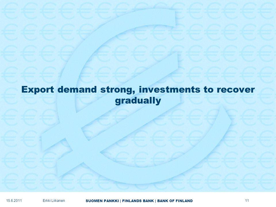 SUOMEN PANKKI | FINLANDS BANK | BANK OF FINLAND Export demand strong, investments to recover gradually 11Erkki Liikanen15.6.2011