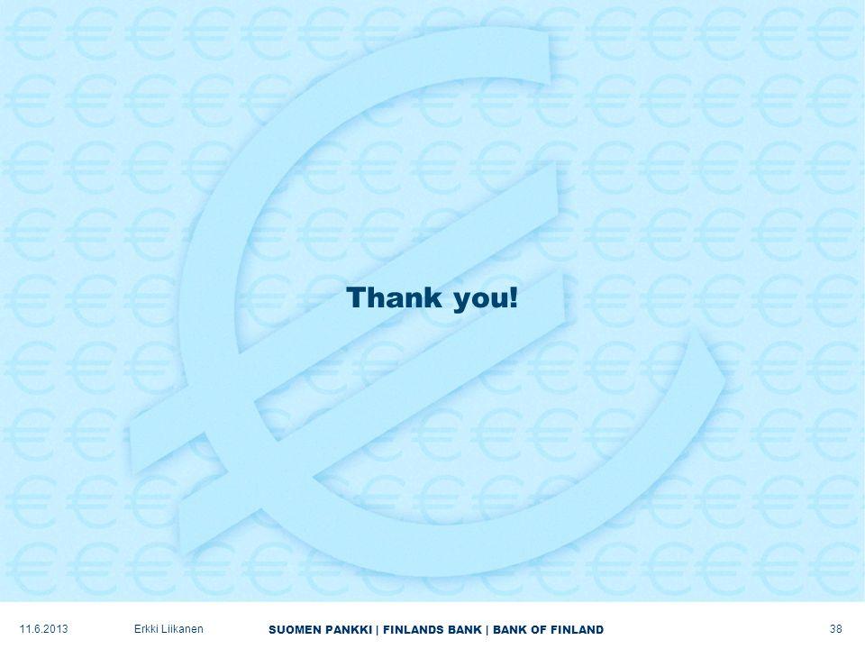 SUOMEN PANKKI | FINLANDS BANK | BANK OF FINLAND Thank you! Erkki Liikanen11.6.2013 38