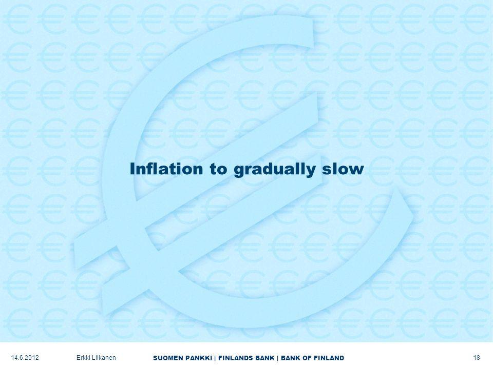 SUOMEN PANKKI | FINLANDS BANK | BANK OF FINLAND Inflation to gradually slow 18 Erkki Liikanen14.6.2012