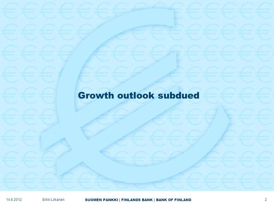 SUOMEN PANKKI | FINLANDS BANK | BANK OF FINLAND Growth outlook subdued 2 Erkki Liikanen14.6.2012
