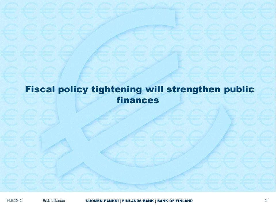 SUOMEN PANKKI | FINLANDS BANK | BANK OF FINLAND Fiscal policy tightening will strengthen public finances 21 Erkki Liikanen14.6.2012