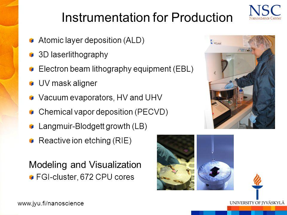 N S CN S C Nanoscience Center www.jyu.fi/nanoscience Instrumentation for Characterization Scanning electron microscopes (SEM, SEM+EDS) Atomic force microscopes (AFM): standard, environmental Near-field optical microscope (SNOM) Transmission electron microscopes (TEM) Confocal microscopes X-ray microtomography (best resolution 50 nm) Single crystal X-ray diffraction NMR spectroscopy equipment Optical spectrometers (IR, vis-UV, CD, Raman, fluoresc.) Nano and femtosecond lasers (UV to IR, 20 fs) Cryo and vacuum instrumentation Ion beam analysis tools for elemental depth profiling (down to nm depth resolution)