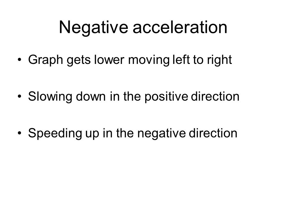 Negative acceleration Graph gets lower moving left to right Slowing down in the positive direction Speeding up in the negative direction