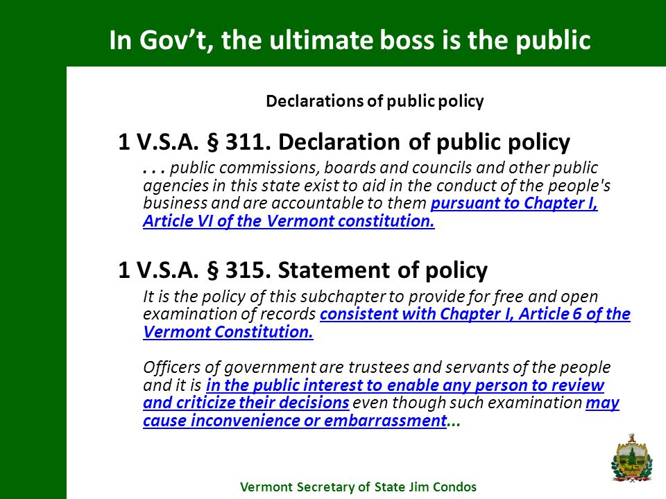 Vermont Constitution Declarations of public policy 1 V.S.A.