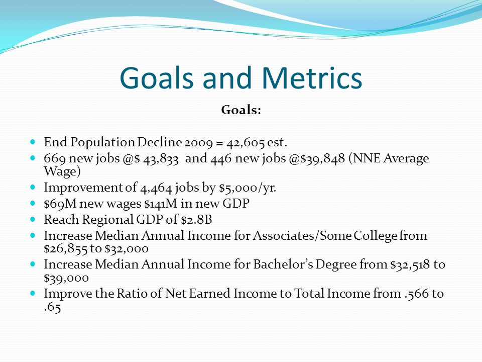 Goals and Metrics Goals: End Population Decline 2009 = 42,605 est.
