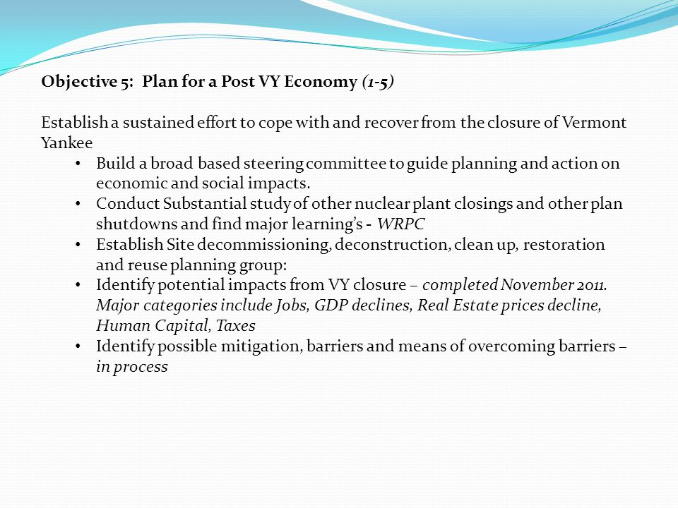 Objective 5: Plan for a Post VY Economy (1-5) Establish a sustained effort to cope with and recover from the closure of Vermont Yankee Build a broad based steering committee to guide planning and action on economic and social impacts.