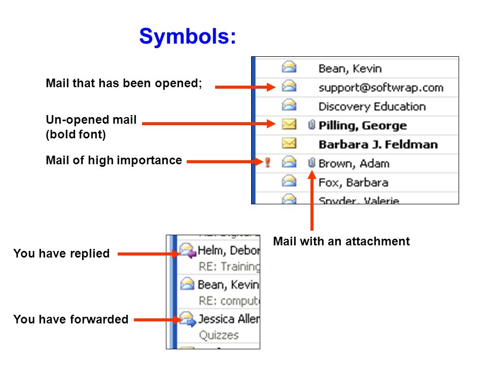 Organize your messages into folders Delete messages Check for new mail Position reading pane, or turn it off eMail Toolbars: Find Names in the Global Address Book Search for a particular message by sender, subject, etc Compose new messages, contact lists, appointments, etc.