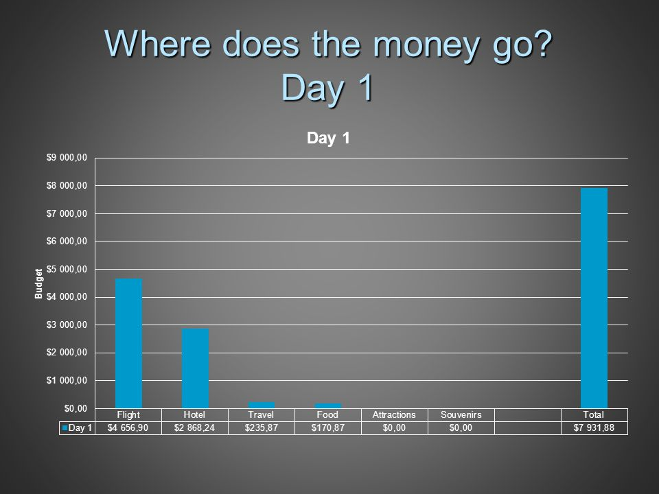 Where does the money go Day 1