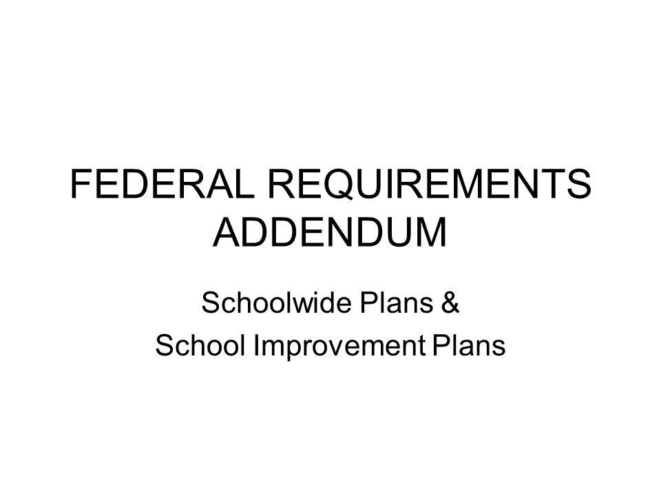 SCHOOLWIDE PLAN All Schools SCHOOL IMPROVEMENT PLAN SI I, SI II, CAI, CAII, MP