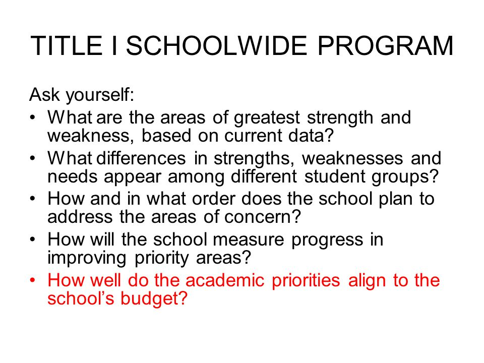 TITLE I SCHOOLWIDE PROGRAM IF YOU BUY IT, YOU WRITE IT!!!!