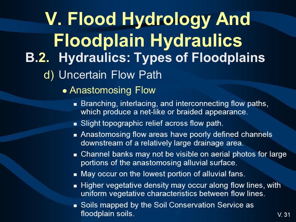 V. 31 V. Flood Hydrology And Floodplain Hydraulics B.2.Hydraulics: Types of Floodplains d)Uncertain Flow Path Anastomosing Flow Branching, interlacing