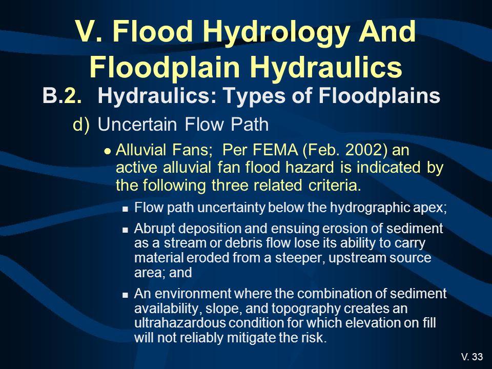 V. 33 V. Flood Hydrology And Floodplain Hydraulics B.2.Hydraulics: Types of Floodplains d)Uncertain Flow Path Alluvial Fans; Per FEMA (Feb. 2002) an a