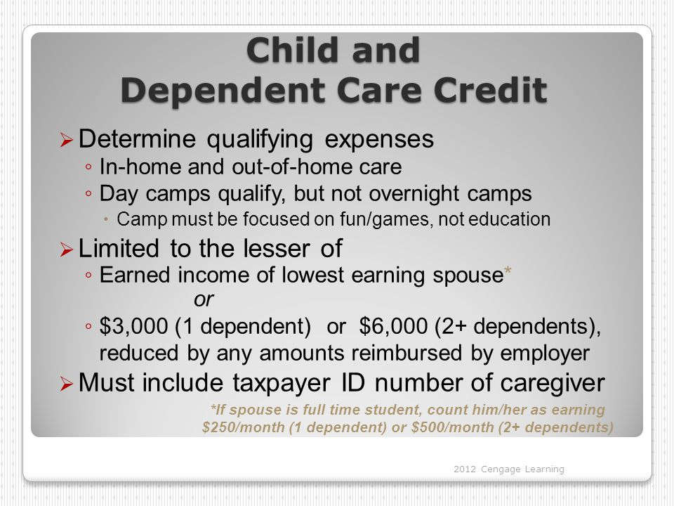 Child and Dependent Care Credit  Determine qualifying expenses ◦ In-home and out-of-home care ◦ Day camps qualify, but not overnight camps  Camp mus