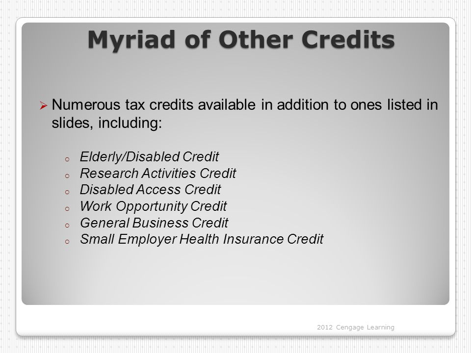 Myriad of Other Credits  Numerous tax credits available in addition to ones listed in slides, including: o Elderly/Disabled Credit o Research Activit