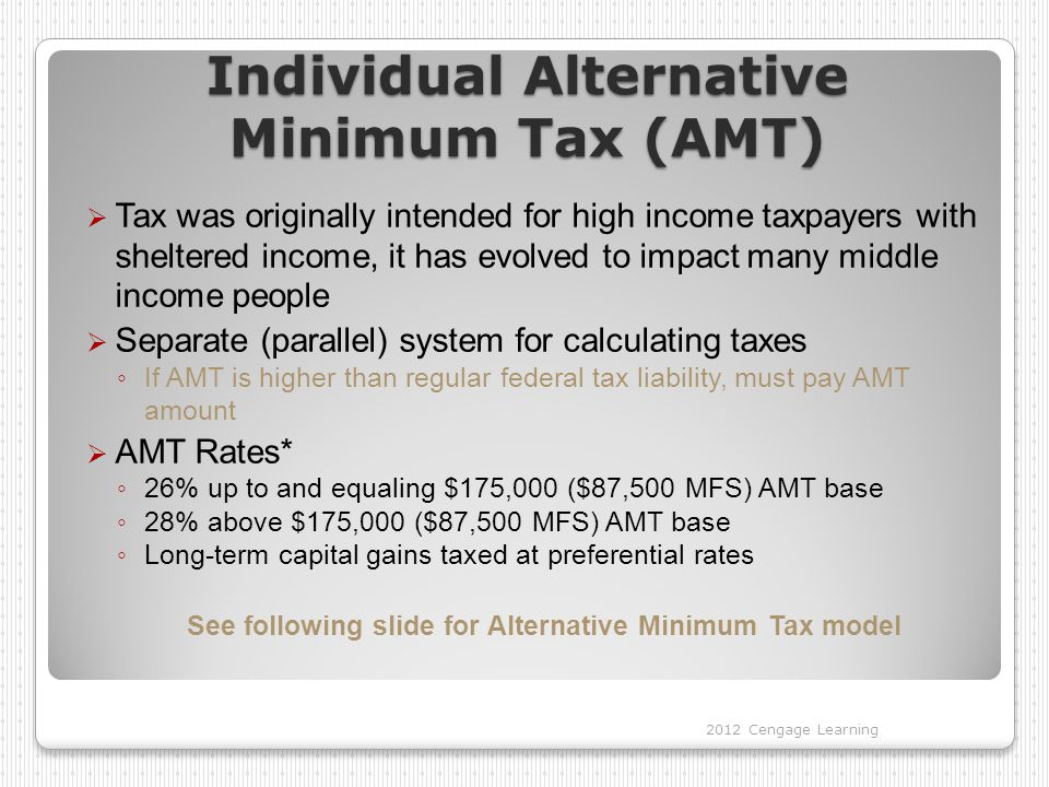 Individual Alternative Minimum Tax (AMT)  Tax was originally intended for high income taxpayers with sheltered income, it has evolved to impact many