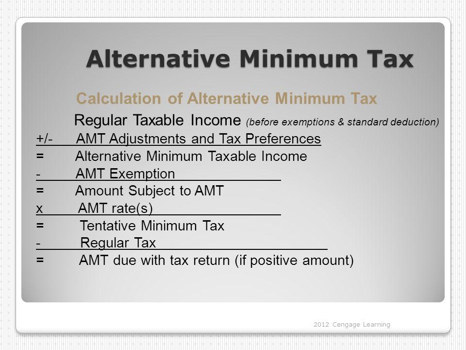 Alternative Minimum Tax Calculation of Alternative Minimum Tax Regular Taxable Income (before exemptions & standard deduction) +/- AMT Adjustments and
