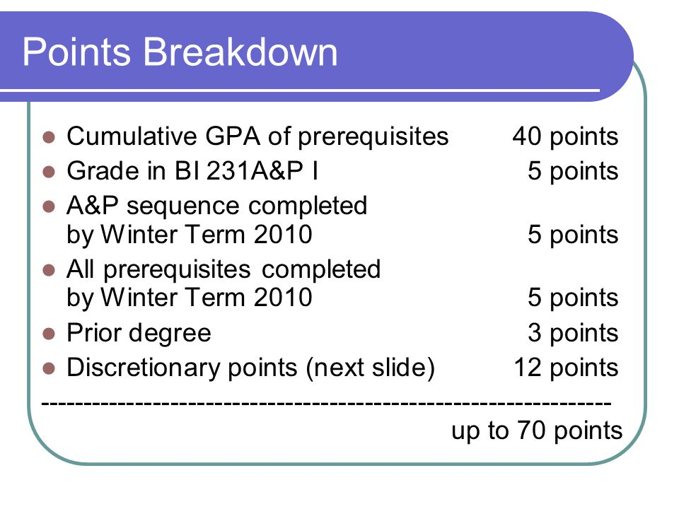 Cumulative GPA of prerequisites 40 points Grade in BI 231A&P I 5 points A&P sequence completed by Winter Term 2010 5 points All prerequisites completed by Winter Term 2010 5 points Prior degree3 points Discretionary points (next slide)12 points ----------------------------------------------------------------- up to 70 points Points Breakdown