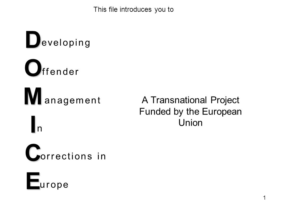 D O M I C E A Transnational Project Funded by the European Union eveloping ffender anagement n orrections in urope This file introduces you to 1