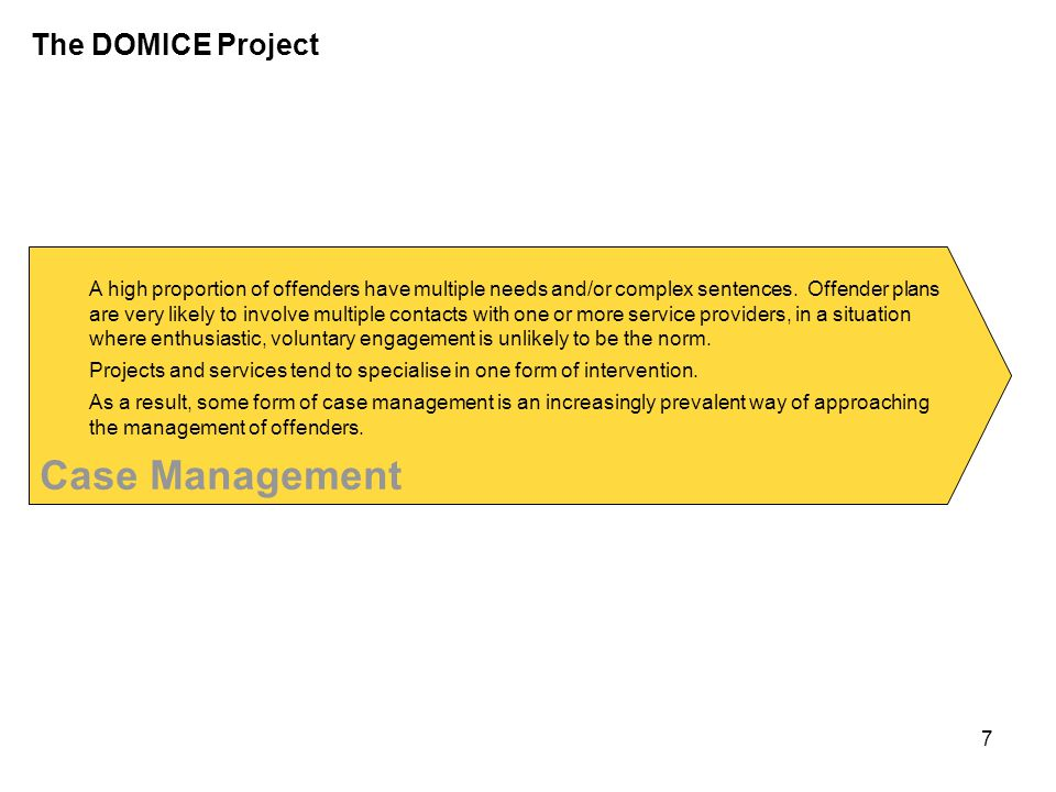 Case Management The DOMICE Project Many organisations use case management as their main way of working.