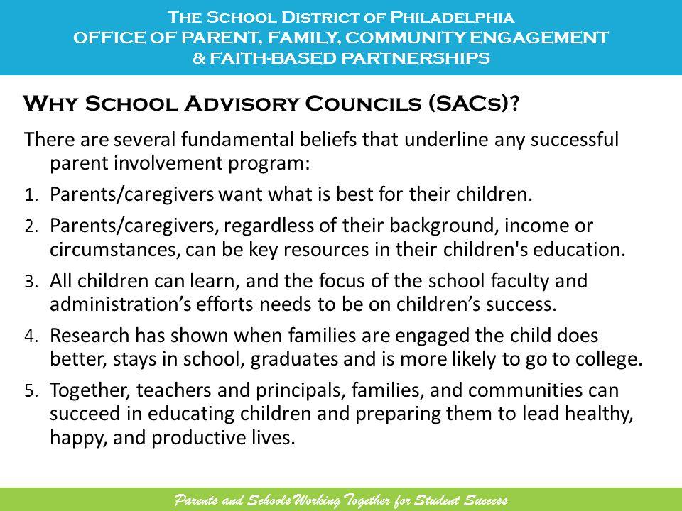 Why School Advisory Councils (SACs).
