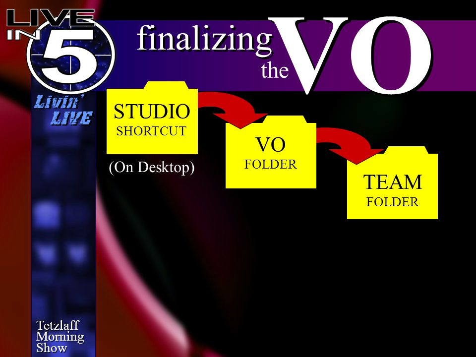 Tetzlaff Morning Show Tetzlaff Morning Show Livin' LIVE TEAM FOLDER finalizing VO the VO FOLDER STUDIO SHORTCUT (On Desktop)