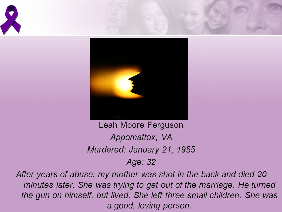 Karen Sue Johnson Lynchburg, VA Murdered: April 15, 1983 Age: 25 I am a victim of domestic violence homicide along with my friend.