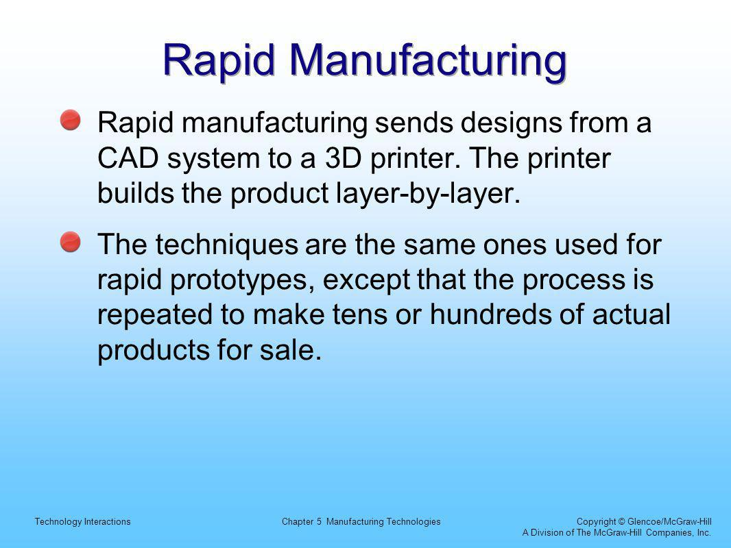 Technology InteractionsChapter 5 Manufacturing Technologies Copyright © Glencoe/McGraw-Hill A Division of The McGraw-Hill Companies, Inc.