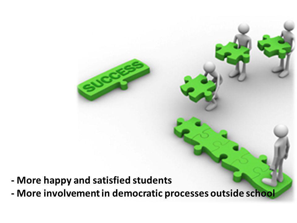 - More happy and satisfied students - More involvement in democratic processes outside school