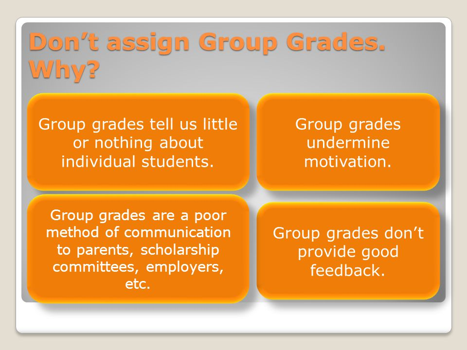 Don't assign Group Grades. Why. Group grades tell us little or nothing about individual students.