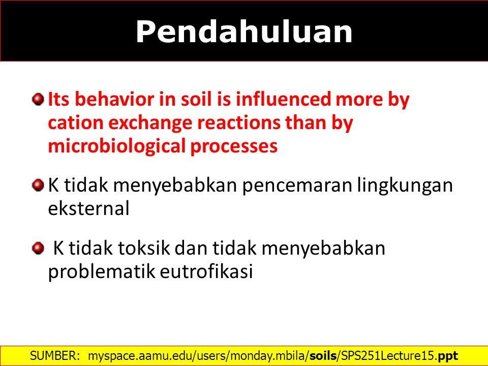 Kalium Tanah SUMBER: http://www.intechopen.com/books/soil-processes-and-current-trends-in-quality- assessment/potassium-in-soils-of-glacial-origin  Model pelepasan K dalam proses pelapukan mineral primer tanah