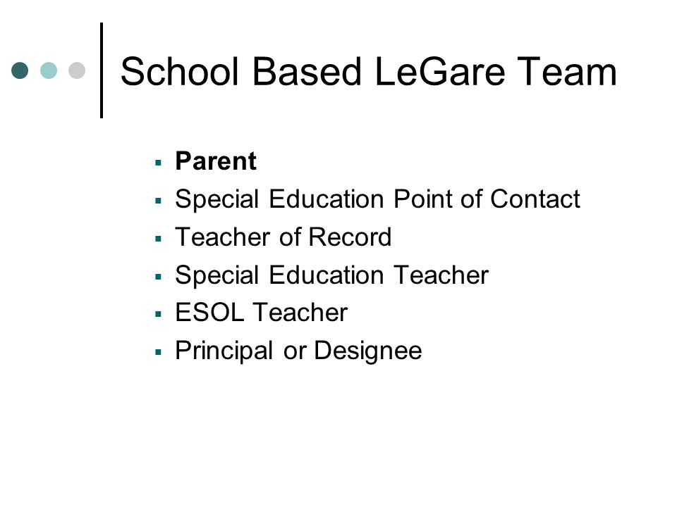  Parent  Special Education Point of Contact  Teacher of Record  Special Education Teacher  ESOL Teacher  Principal or Designee