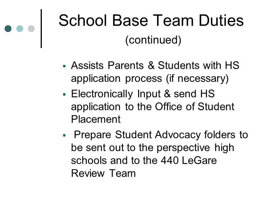 School Base Team Duties (continued)  Assists Parents & Students with HS application process (if necessary)  Electronically Input & send HS applicati