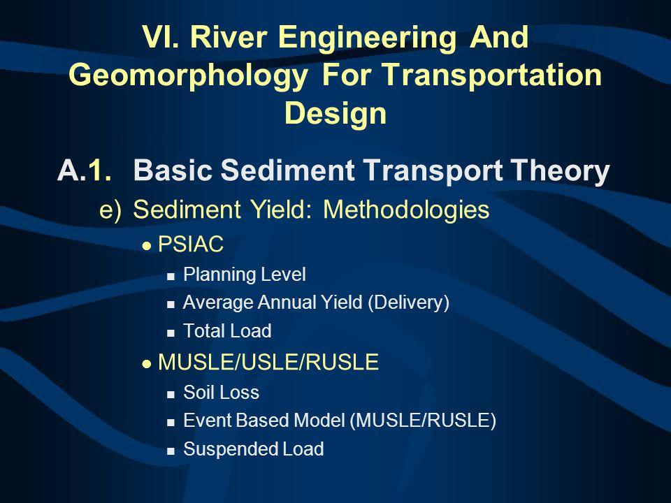 VI. River Engineering And Geomorphology For Transportation Design A.1.Basic Sediment Transport Theory e)Sediment Yield: Methodologies PSIAC Planning L